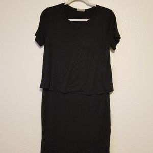 Everly Layered Look Black Dress Small
